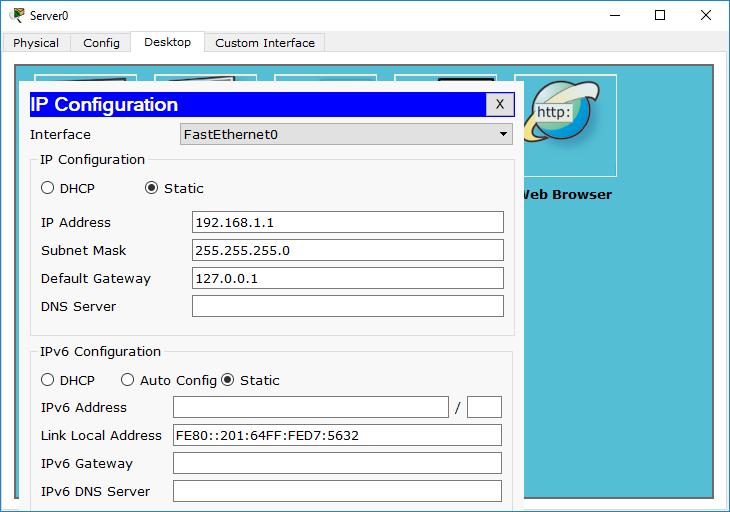 ست کردن آدرس آی پی برای سرور dhcp